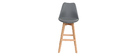 Gruppo di due sgabelli da bar design colore grigio e legno PAULINE