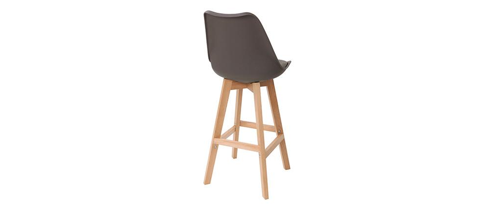 Gruppo di due sgabelli da bar design colore marrone e legno PAULINE
