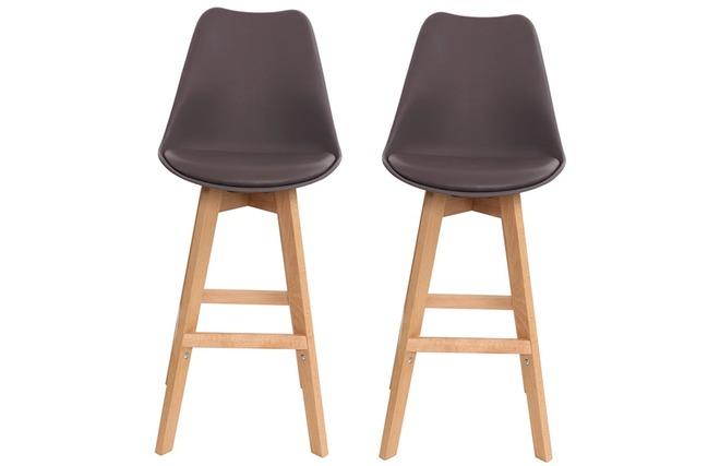 Gruppo di due sgabelli da bar design colore marrone e legno