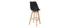 Gruppo di due sgabelli da bar design colore nero e legno PAULINE