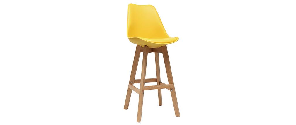 Gruppo di due sgabelli da bar design giallo e legno 65cm PAULINE