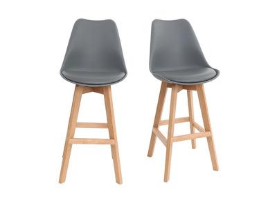 Gruppo di due sgabelli da bar design grigio e legno 65cm PAULINE