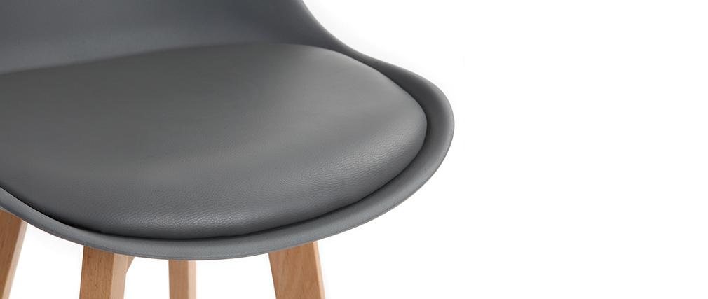 Gruppo di due sgabelli da bar design grigio scuro e legno 65cm PAULINE