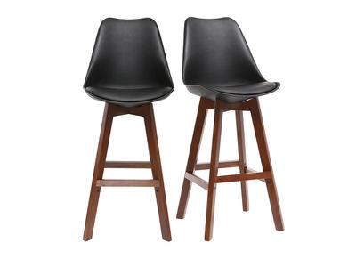 Gruppo di due sgabelli da bar design nero e noce 65cm PAULINE