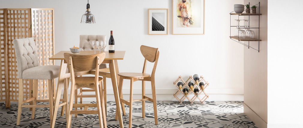 Gruppo di due sgabelli da bar in stile scandinavo quercia LEENA