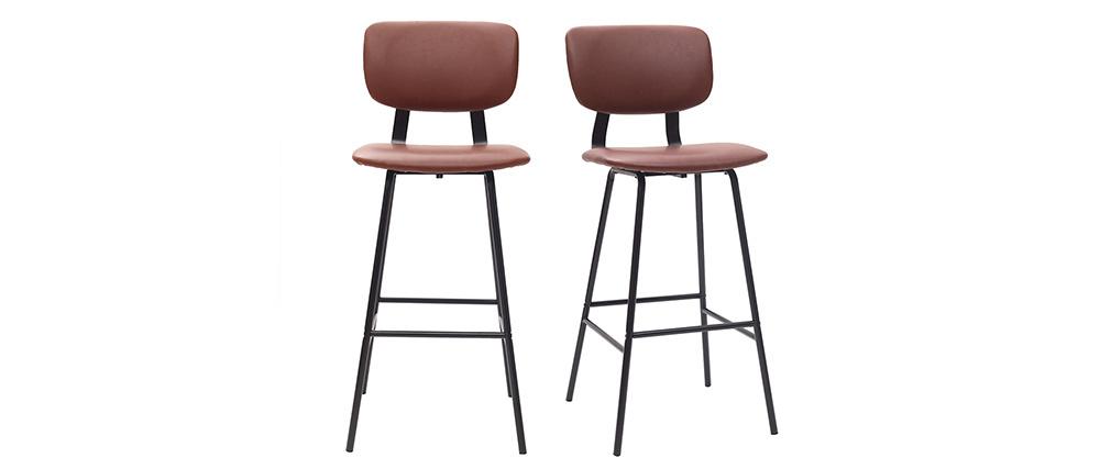 Gruppo di due sgabelli da bar marrone chiaro con piedi in metallo 75 cm LAB