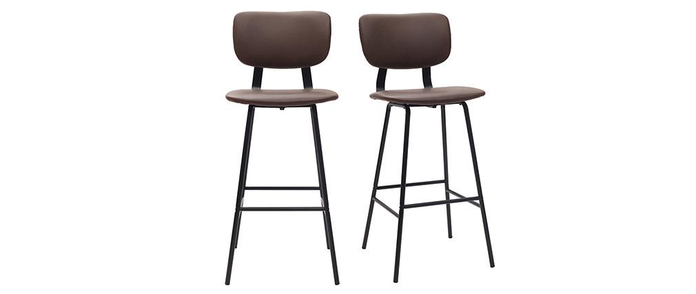 Gruppo di due sgabelli da bar marrone con piedi in metallo 75 cm LAB