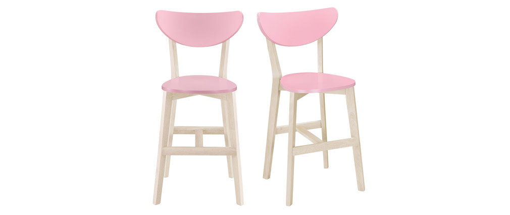 Gruppo di due sgabelli da bar scandinavi rosa 65 cm LEENA