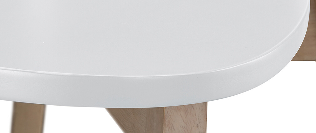 Gruppo di due sgabelli da bar scandinavo bianco e legno 65cm LEENA