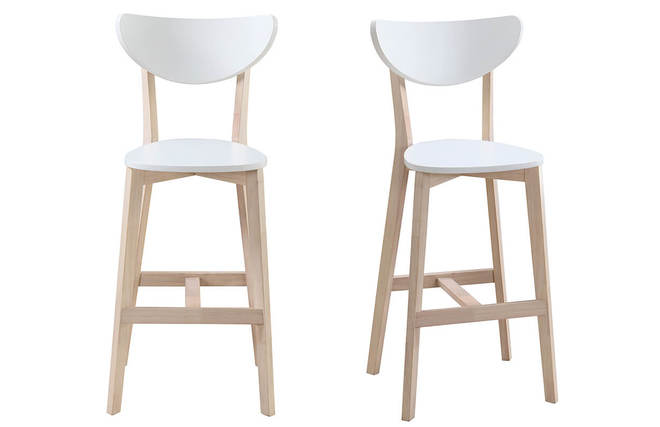 Gruppo di due sgabelli da bar scandinavo bianco e legno cm leena