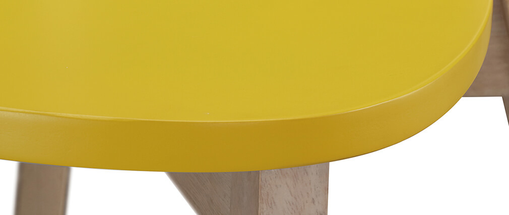 Gruppo di due sgabelli da bar scandinavo giallo e legno 65cm LEENA