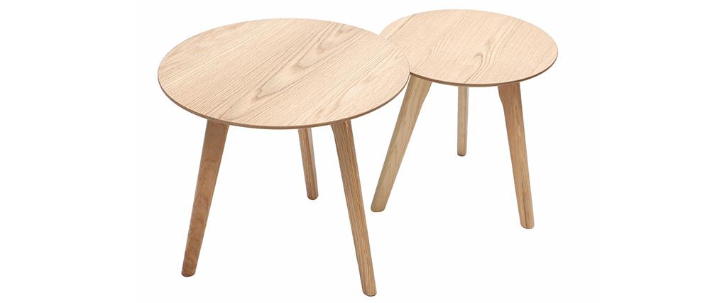 Gruppo di due tavolini rotondi quercia ORKAD