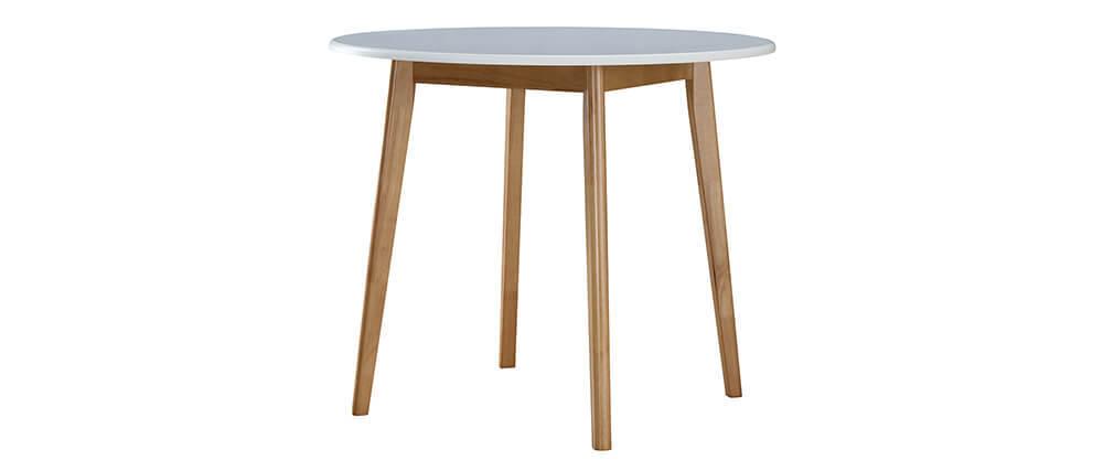 Insieme di tavolo e 4 sedie bianco e legno LEENA