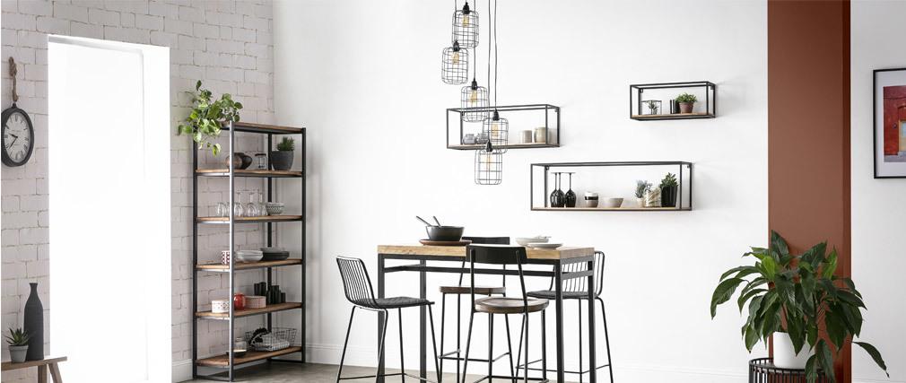 Lampada a sospensione industriale in metallo grigio con 5 lampade LOFT a più livelli
