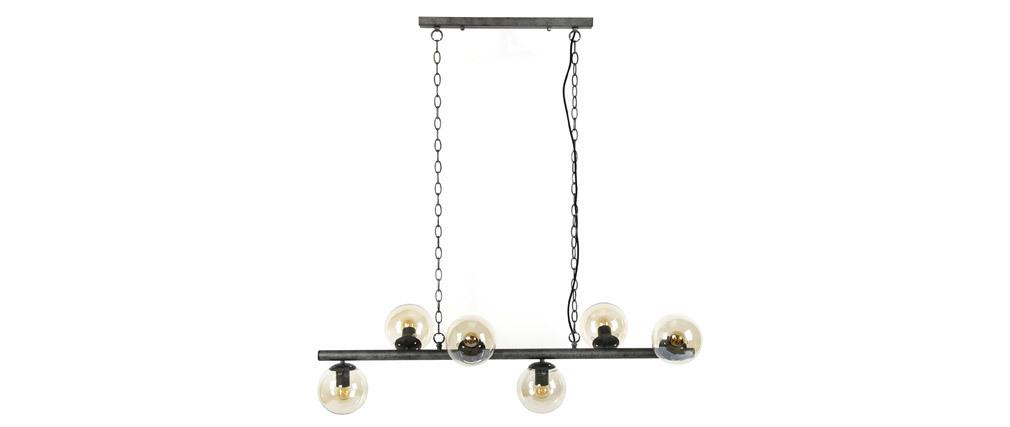 Lampada da parete industriale in metallo antico 6 sfere vetro BLOW