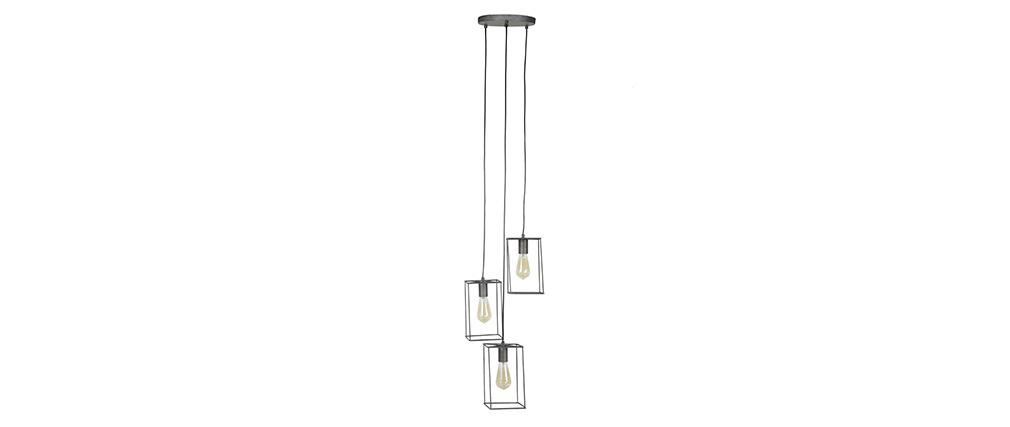Lampada da soffitto design 3 lampadine in metallo finizione argento antico ARCHI