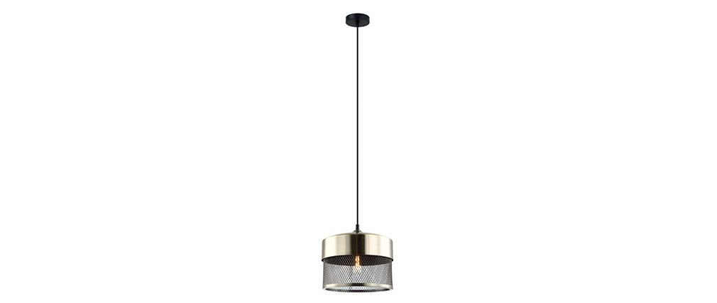 Lampada da soffitto design in metallo dorato e nero RING