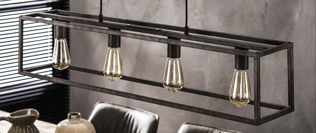 Lampada da soffitto industriale 4 lampadine in metallo antico QUATRO