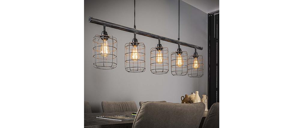 Lampada da soffitto industriale 5 lampadine in metallo grigio LOFT