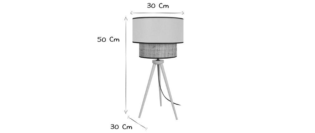 Lampada da tavolo cilindrica bimaterica iuta e tessuto grigio azzurro CHILL