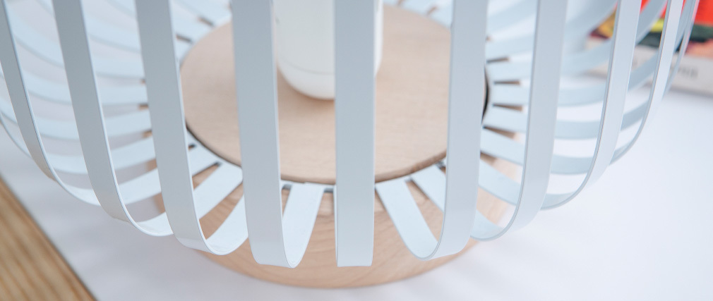 Lampada da tavolo design in acciaio Bianco ALVEOL