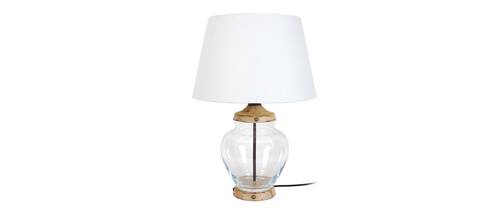 Lampada da tavolo design in vetro e legno PUKKA