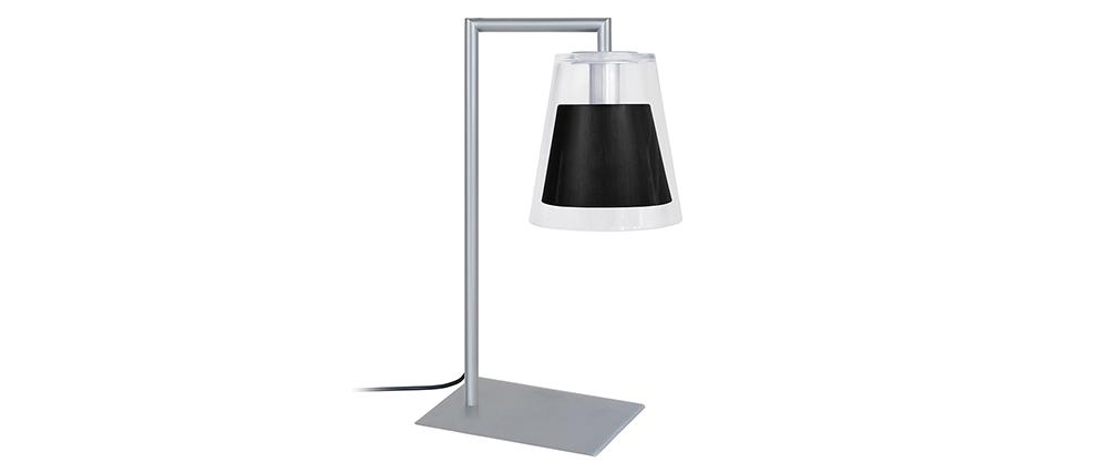 Lampada da tavolo design in vetro e metallo Nero ACROSS