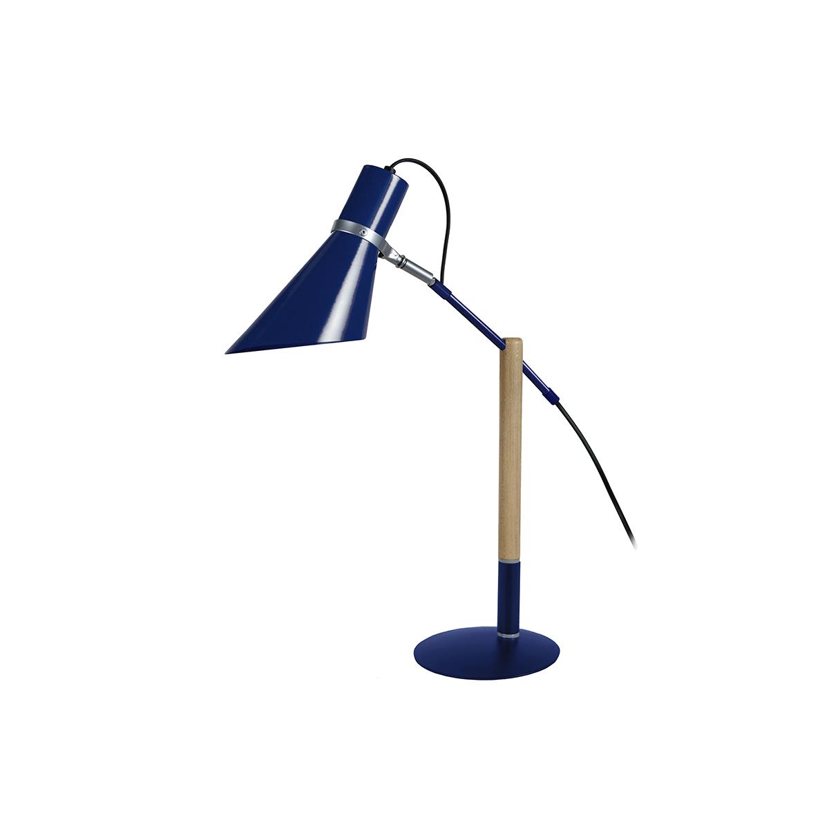 Lampada da tavolo design legno e acciaio Blu SOUND