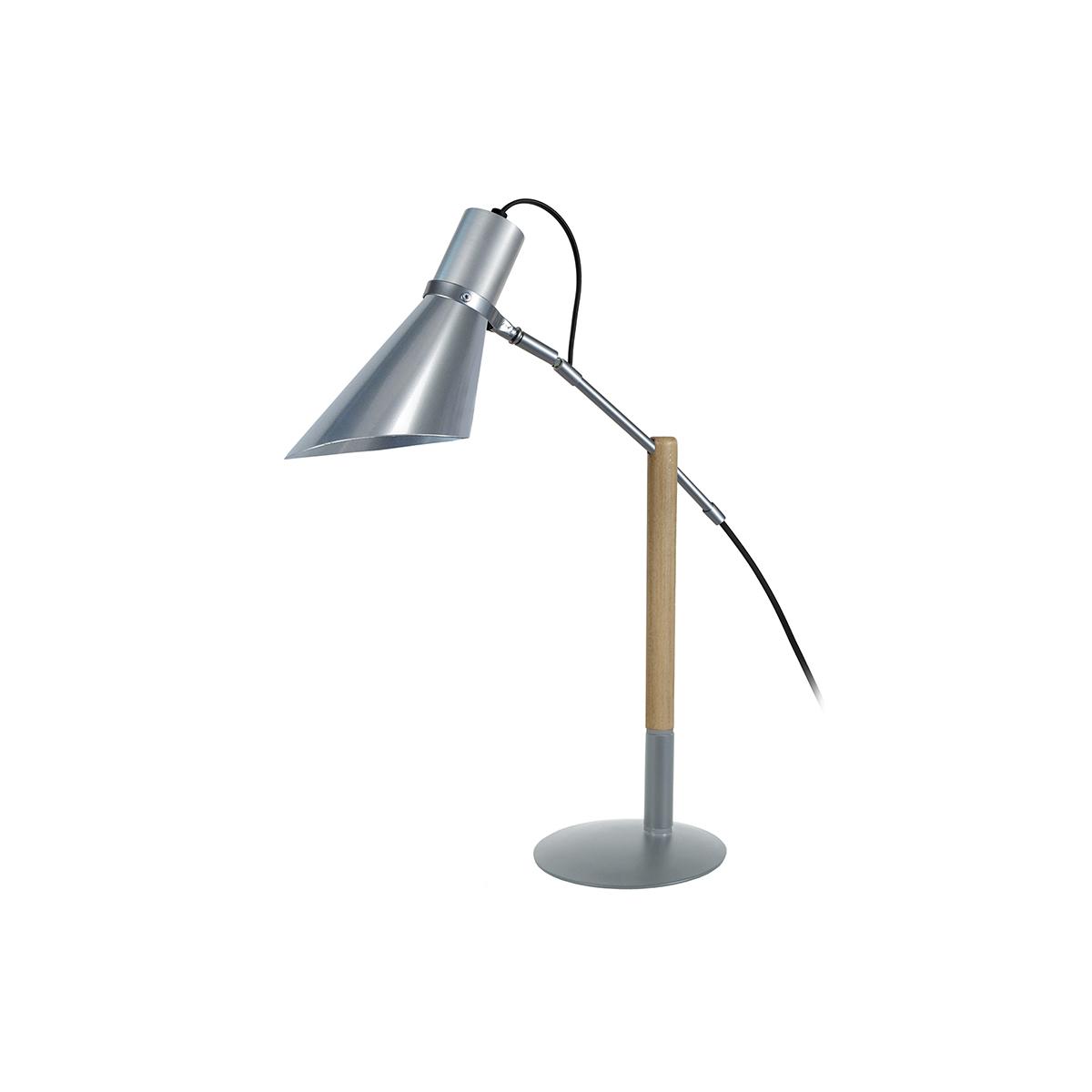 Lampada da tavolo design legno e acciaio cromato sound - Lampada da tavolo legno ...