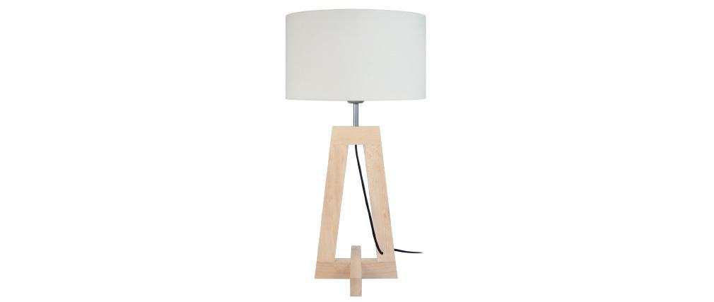 Lampada da tavolo design piede in legno naturale MANON