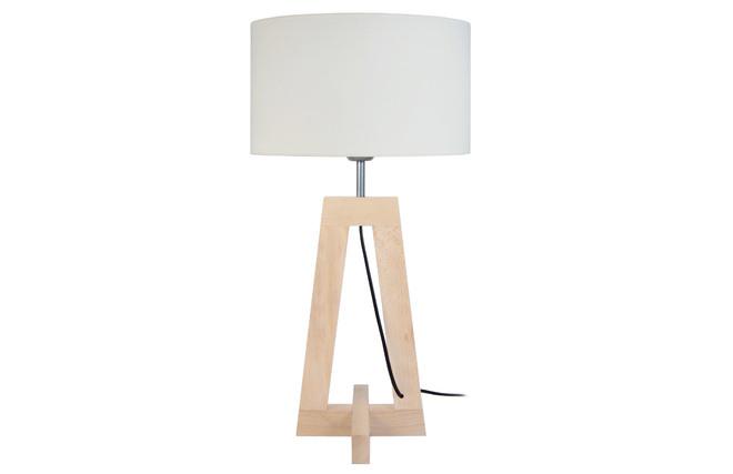 Lampada da tavolo design piede in legno naturale manon miliboo