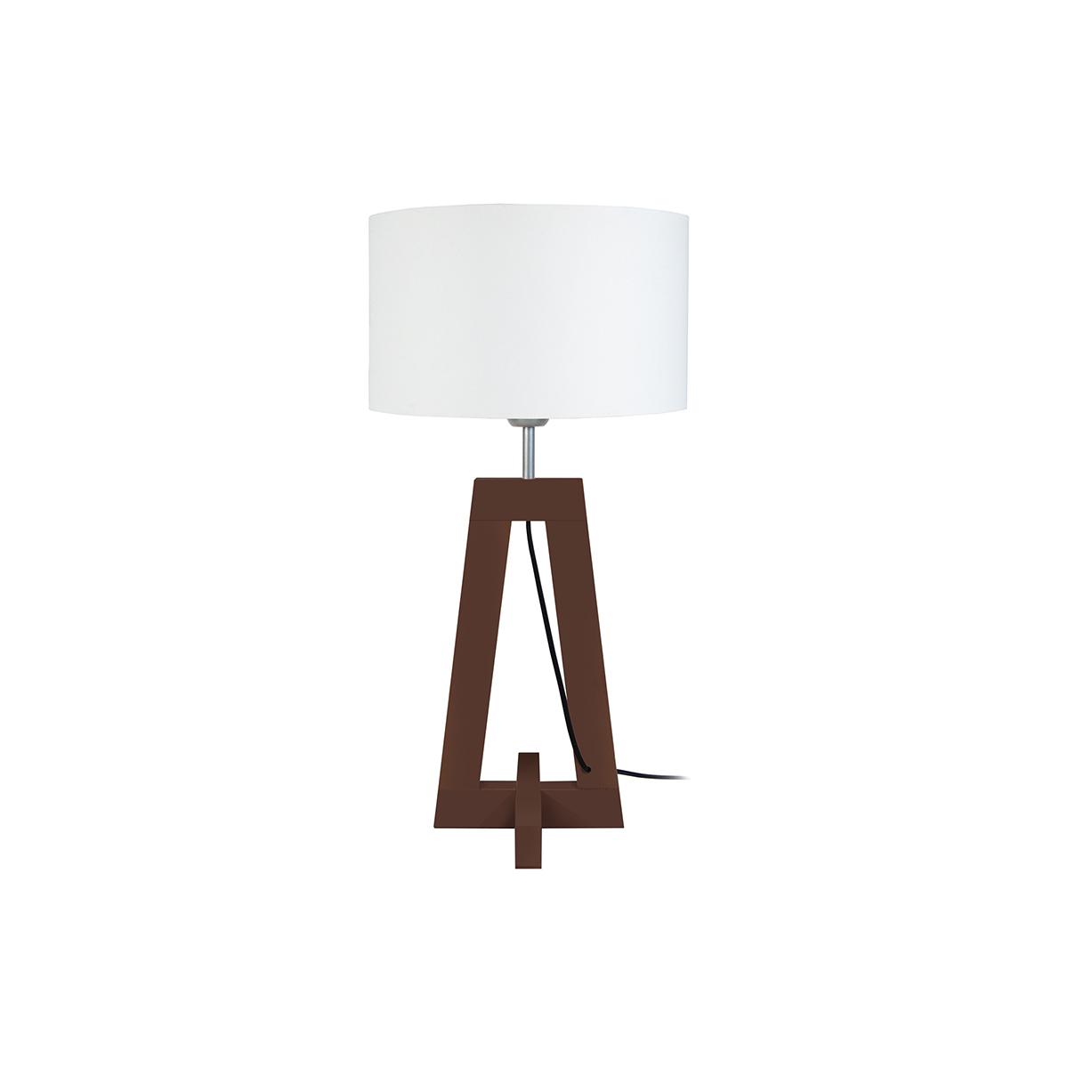 Lampada da tavolo design piede in legno scuro wengé MANON