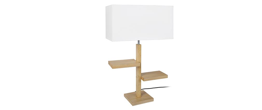 Lampada da tavolo design piedi a forma di ripiani in legno STEP