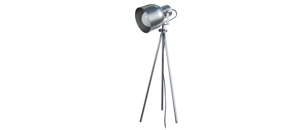 Lampada da tavolo design treppiede in acciaio Cromato CITY