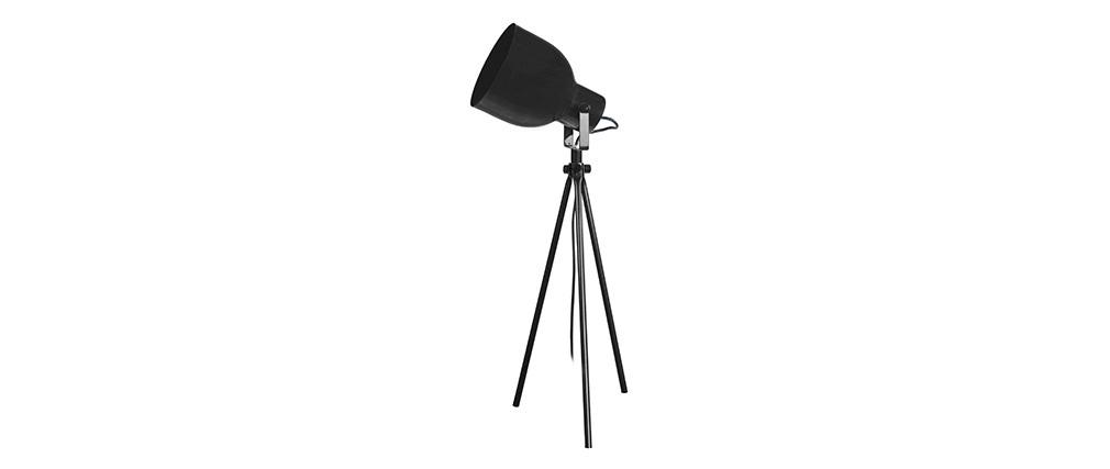 Lampada da tavolo design treppiede in acciaio Nero CITY