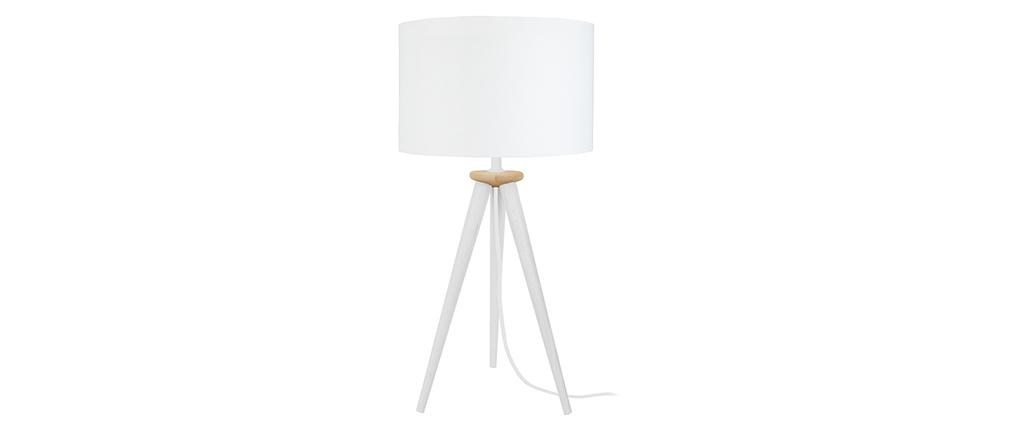 Lampada da tavolo design treppiede in legno Bianco TRIPOD