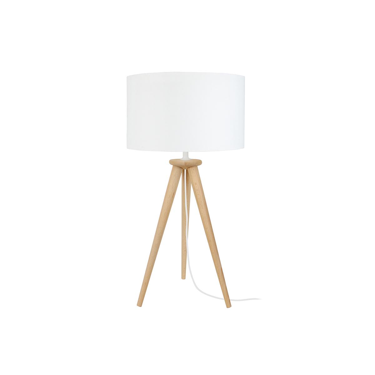 Lampada da tavolo design treppiede in legno naturale TRIPOD