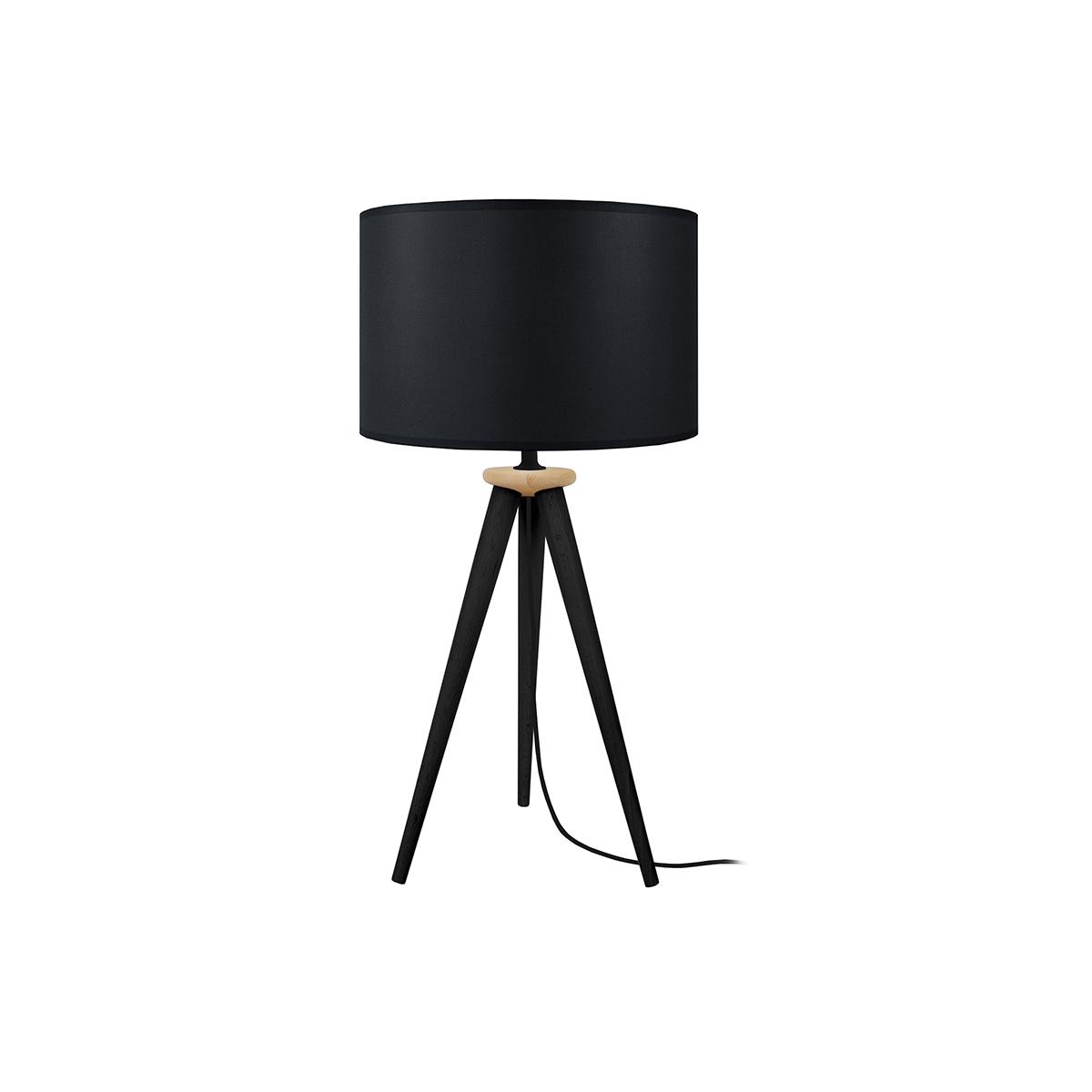 Lampada da tavolo design treppiede in legno Nero TRIPOD