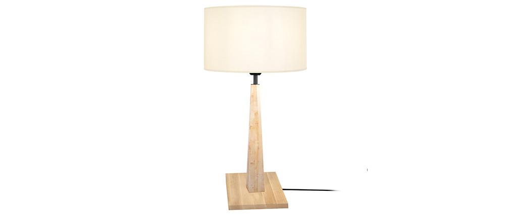 Lampada da tavolo écru con piede in legno NIDRA