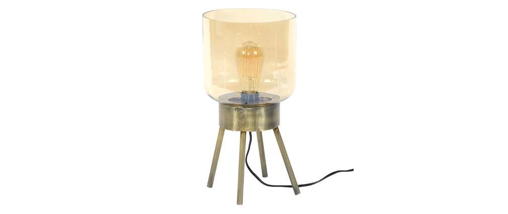 Lampada da tavolo  in metallo effetto bronzo e vetro ombrato AMBRE