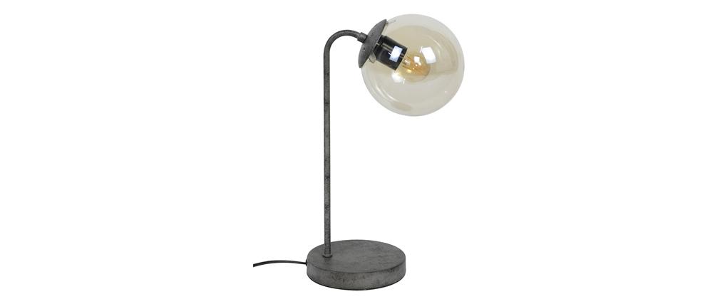 Lampada da tavolo in metallo finitura argento e vetro GLOB