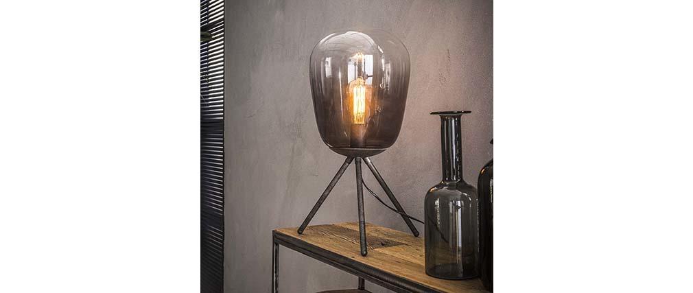 Lampada da tavolo in vetro e metallo finiture argento antico SMOKE