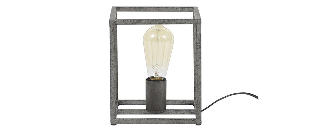 Lampada da tavolo industriale in metallo finizione argento antico ARCHI