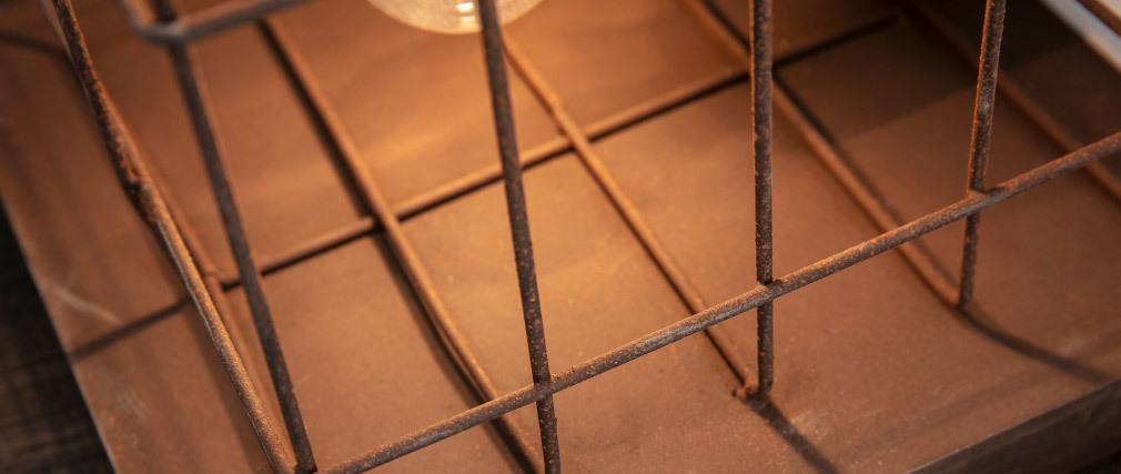 Lampada da tavolo industriale in metallo finizione ruggine marrone RUST