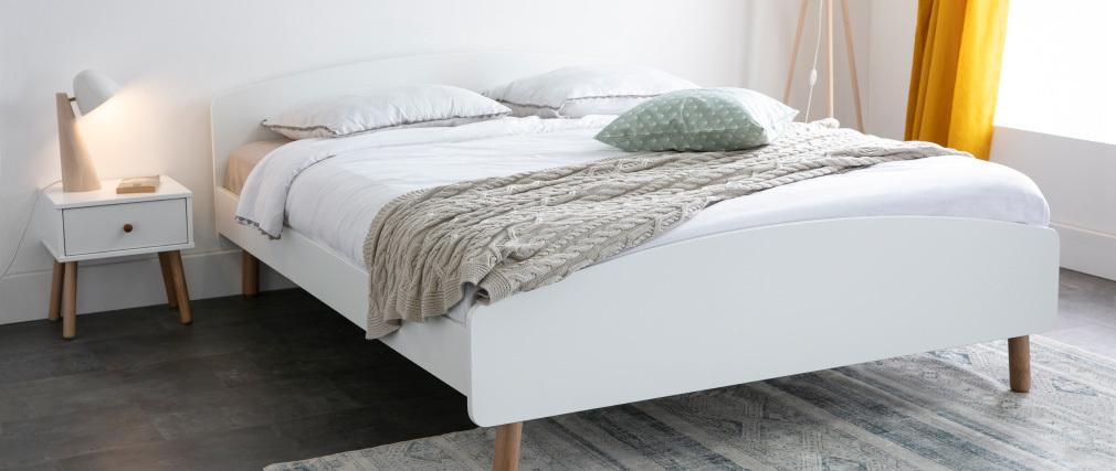 Lampada da tavolo scandinava in legno chiaro e bianco FARO