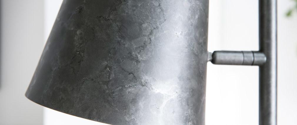 Lampada da terra con abat-jour regolabile in metallo argento antico BELL