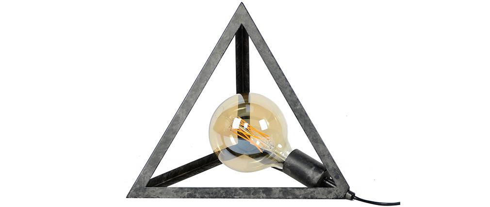 Lampada da terra piramide argento antico LOUVRE