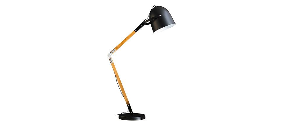 Lampada design in metallo nero e legno GABY