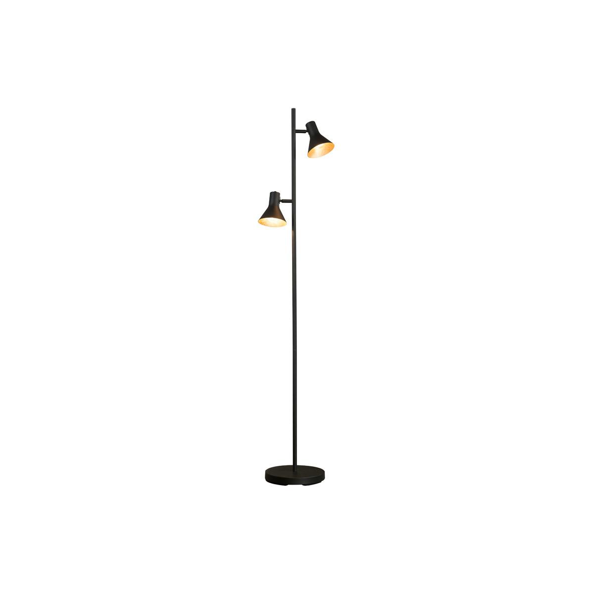 Lampada design in metallo nero opaco e interno dorato DUO