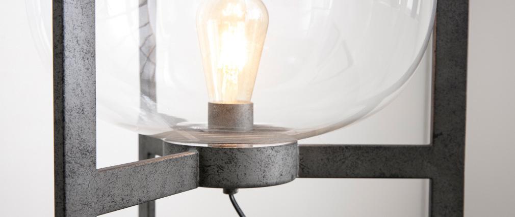Lampada in metallo finizione argento antico e globo in vetro HALCYON